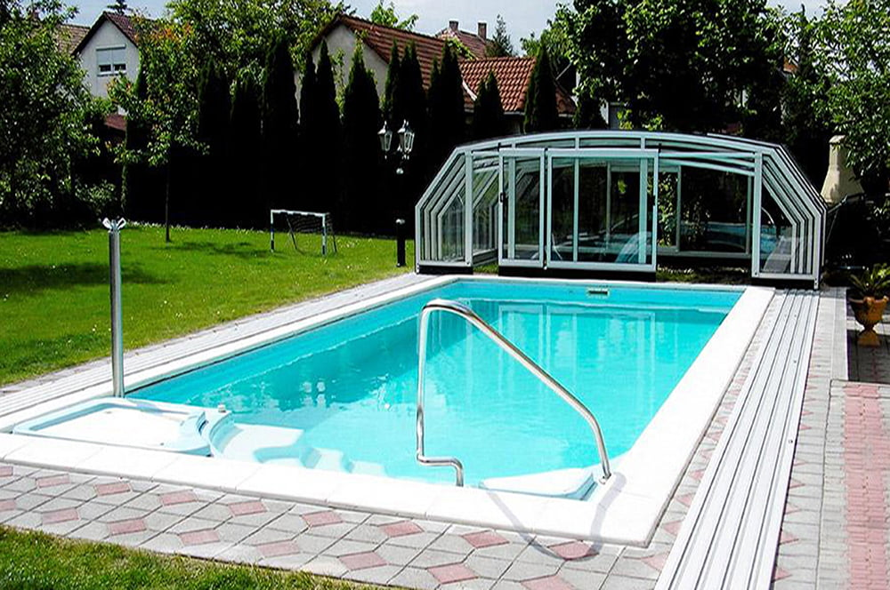 Pool enclosure retractable pool enclosures litra Retractable swimming pool enclosures