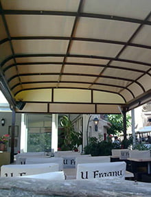 Retractable Patio Cover restaurant's garden